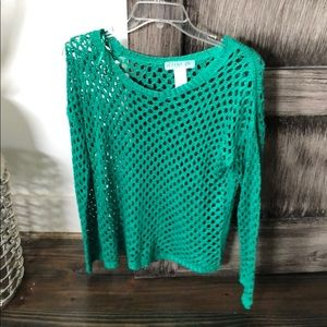 Like new green perforated sweater sz m